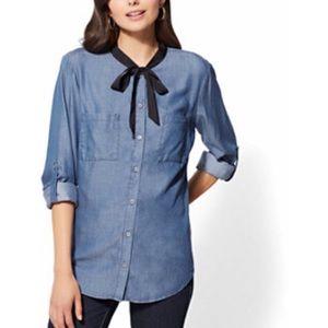 Soho NY & Co Jeans Bow Chambray Shirt